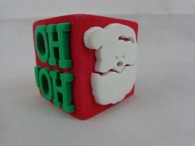 Christmas Cube Foam Stamp 4 Images Santa Reindeer Sleigh Ho Ho