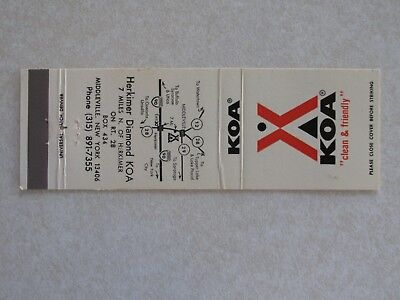 d542 Matchbook Cover New York NY KOA Campground Middleville Herkimer Diamond, used for sale  Winnebago