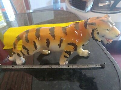 "11"" Vintage Hand Painted Tiger Figure Wales Porcelain - Made in Japan"