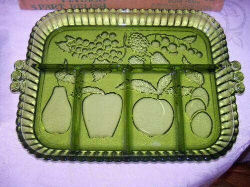 Indiana Glass Olive Fruit Garland Happenings 5 Part Divided Relish Tray Platter