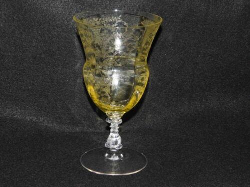 Portia Cambridge Glass Yellow 12 Oz Ftd Tea stem 3121 Uranium Vaseline RARE
