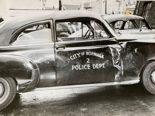Vintage Photograph Police Department Car Automobile w/ Wreck Damage Norwalk CT