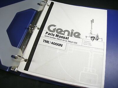 Genie Tml 4000n Light Tower Towable Generator Parts Manual Tml01-01 To Tml01-225