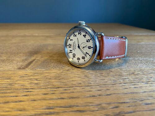 Shinola Runwell 47mm White Dial Tan Horween Leather  Detroit RARE 00000 Serial
