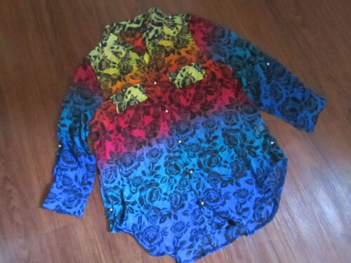 Women's Sheer Button-front V-neck Collar Blouse Multicolor Floral ~ Size L