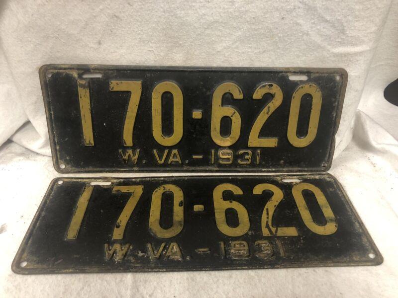 Vintage 1931 West Virginia License Plate Pair