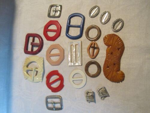 Vintage miscellaneous belt shoe buckle lot, plastic, metal, rhinestone, etc.