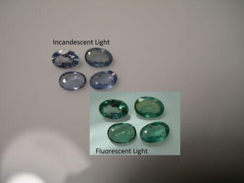 4 rare NATURAL Alexandrite gems India COLOR CHANGE Green Blue Purple FLUORESCENT