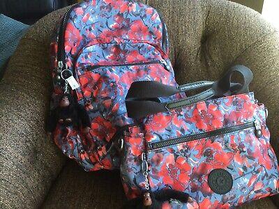 "KIPLING 15"" Large SEOUL Laptop Backpack And ELYSIA Crossbody Handbag PRINT"