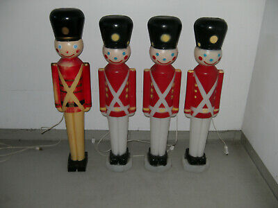 """Vintage 30"""" Toy Soldiers Set Of 4 Christmas Blow Mold Yard Decor Nut Cracker"""
