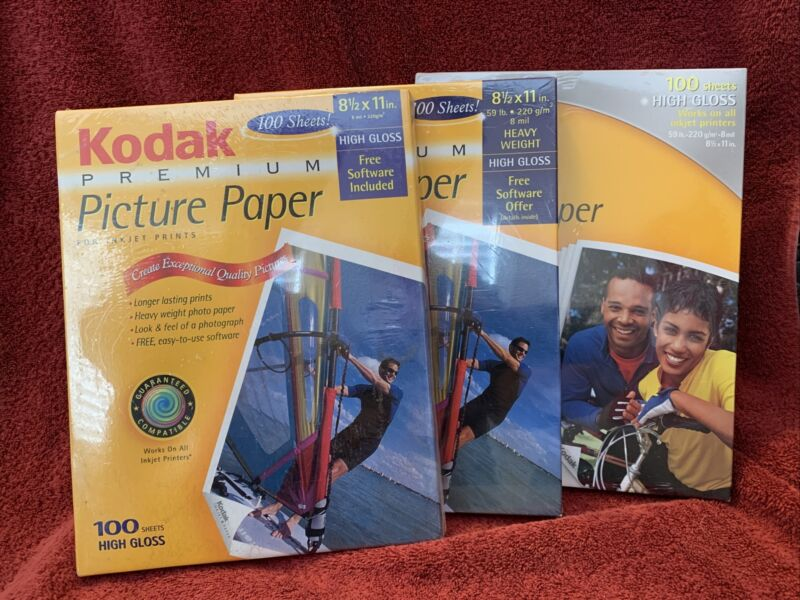 NEW & SEALED KODAK Premium PPP-3-A Picture Paper 8.5 x 11 High Gloss 100 Sheets