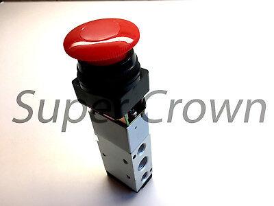 Pneumatic Mechanical Valve Mv-10d 5 Port 2 Position Red Flat Push Button