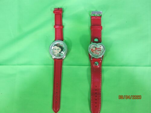 Betty Boop Winking Blowing Kisses & Betty Boop Hearts Rhinestone Watch Pre-owned