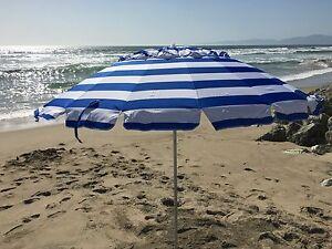 8 Ft Royal Blue White Stripe Deluxe Beach Patio Umbrella 2 In 1