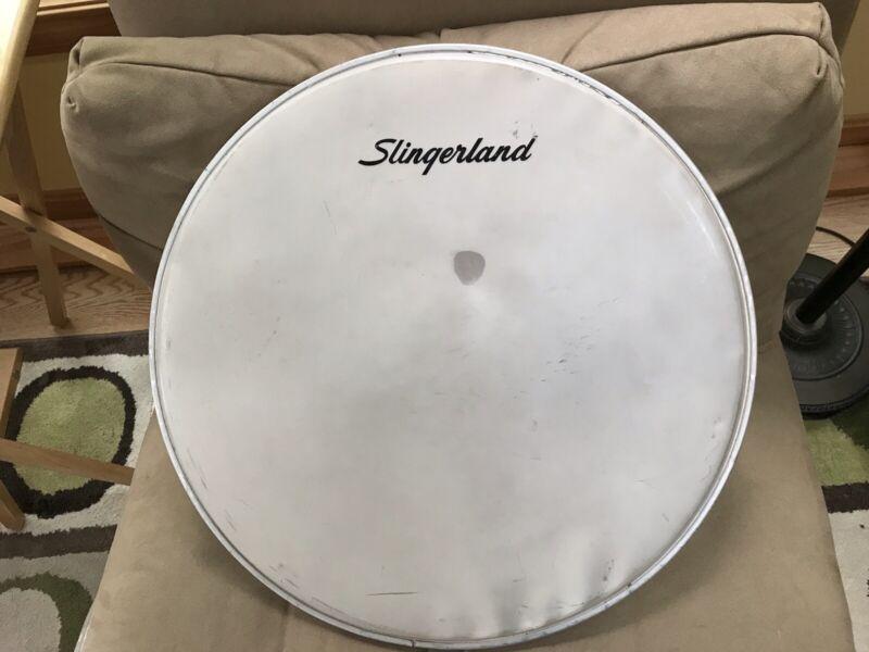 "Slingerland 60s Vintage 20"" Bass Drum Head Coated Drumhead Silkscreened Logo"