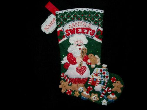 "Santa""s Bakery Handmade Felt Stocking Personalized Finished Complete Lined 16"""