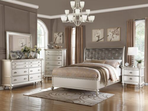 4PC ZURICH MODERN TRANSITIONAL METALLIC SILVER WOOD QUEEN KING BEDROOM SET