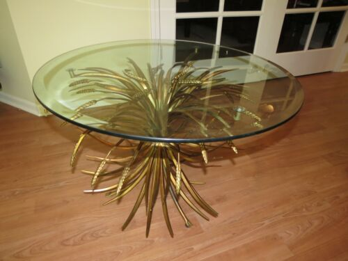 Vintage Wheat Sheaf Coffee Side Table Gold Gilt Hollywood Regency Mid Century