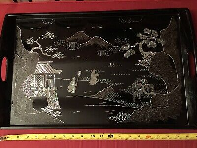 ANTIQUE CHINESE BLACK LACQUER  INLAY TRAY 15