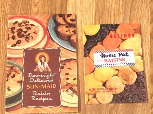 2 VINTAGE Raisin Recipe Booklets 1950? SUN-MAID & 1954 HOME PAK By Vagim