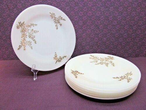 "VINTAGE FEDERAL MILK GLASS - GOLDEN GLORY PATTERN - 9"" DINNER PLATES - SET OF 6"