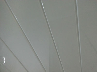 4 Twin White V Groove PVC Ceiling Panels White Gloss Bathroom Cladding Panels