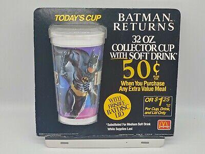 Vintage McDonald's Batman Returns Cup Display with Batman Cup!!! HARD TO FIND