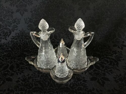 Duncan Miller Crystal Early American Sandwich Glass Condiment Set