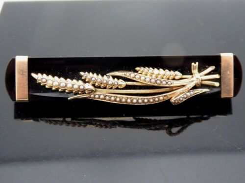 Antique Victorian Wheat Design 10Kt  Mourning Onyx Seed Pearl Chatelaine Brooch