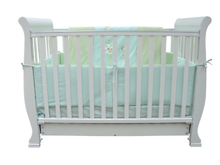 Solid Pine Wood Wooden 3 in 1 Baby Toddler Sleigh Cot Bed White