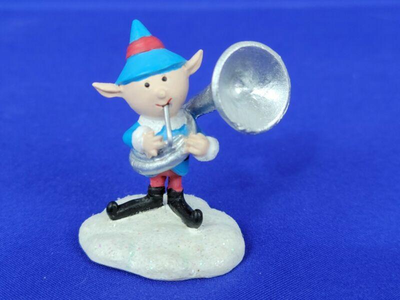 Hawthorne Village Rudolph Christmas Town Elf Tuba Player Blue suit