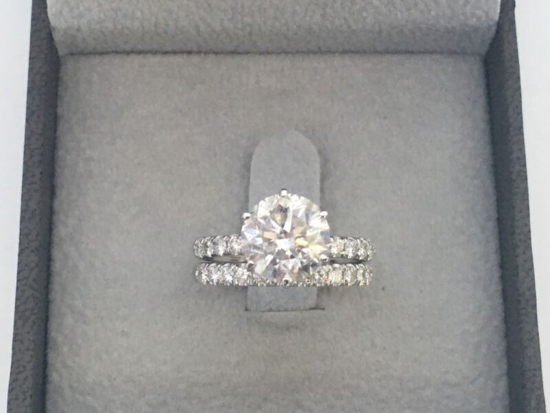 Estate Diamond Ring Band Set 14 Karat White Gold Certified 2.17 Ct Size 5 6 7 8