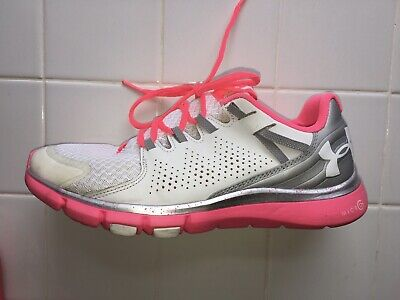 Under Armour Size 8.5 White Pink Womens Running Shoes Walk Breast Cancer Edition