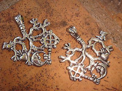 2 Pack Cimaruta Amulet Charm Pendant Purse Toggle Stregheria Talisman Protection