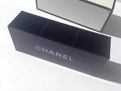Chanel VIP Gift Black Glossy Makeup Brush Holder Cosmetic Organizer 3 Slots