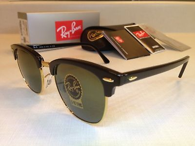 RAY-BAN CLUBMASTER SUNGLASSES Size 51MM Black Frame with Green G-15 (51mm Clubmaster)