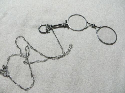 Victorian Sterling Folding Lorgnette Glasses Filigree Long links Chain Necklace