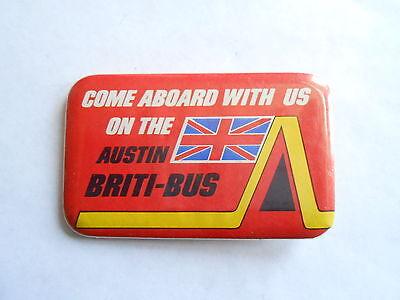 Vintage Austin Texas Briti-Bus Fish and Chips Restaurant Advertising Pinback