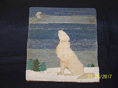 """Grenfell c1930's Hand Made in Canadian Labrador Hooked """"Wolf Baying"""" Mat Rug"""