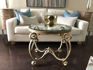 Gold Tone Wrought Iron Table