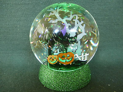 Hallmark Gift Bag Halloween Black Cat Graveyard Pumpkins Tree Snow Globe NEW