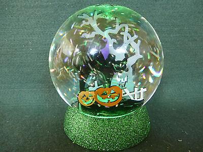 Hallmark Gift Bag Halloween Black Cat Graveyard Pumpkins Large Snow Globe NEW