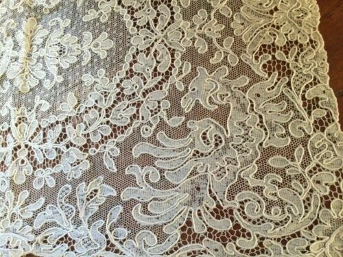 Antique brussels  Lace stand cover in 12x 17 inche