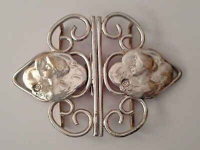 Vintage Art Nouveau EPNS Silver Plate Nurses Belt Buckle Hospital Related Item
