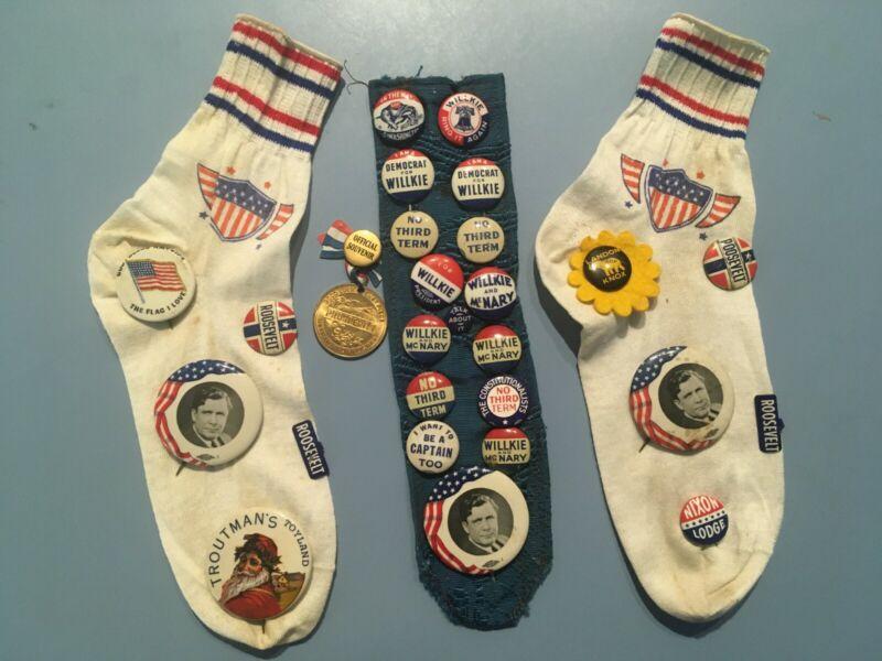 Old political pins, collectible, Wendell Willkie, Roosevelt, Landon, Nixon