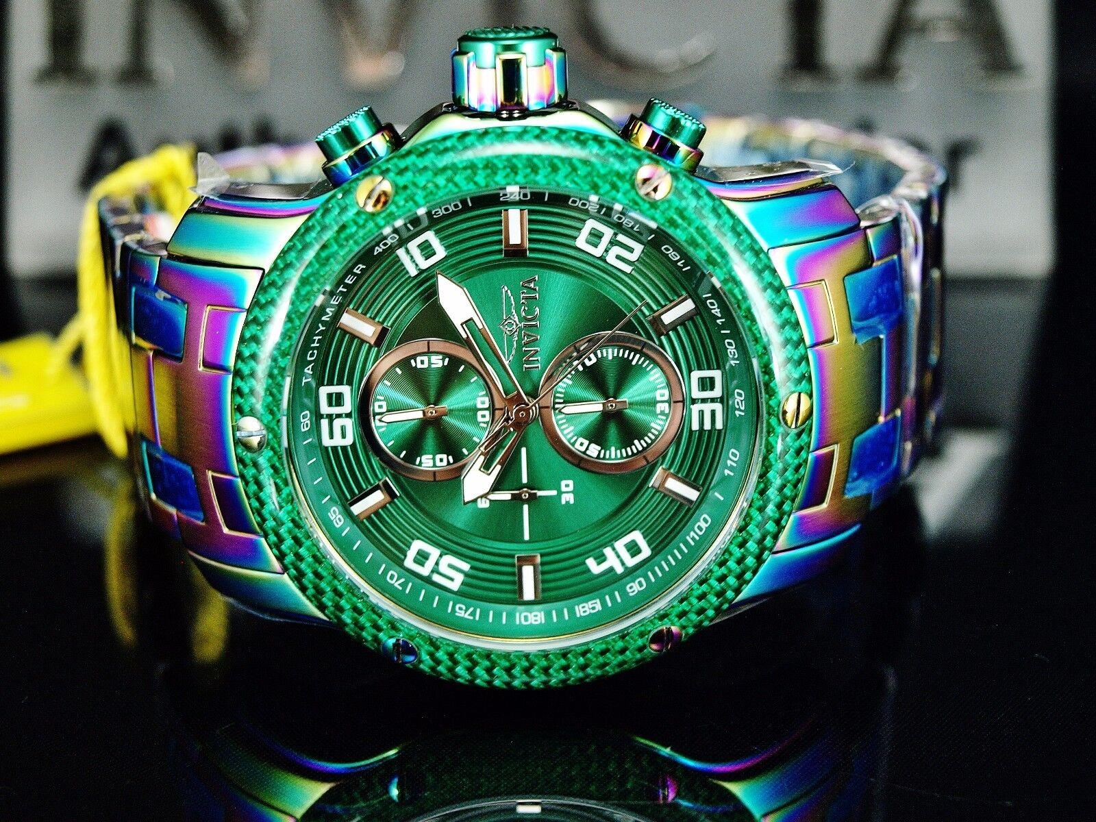 $144.99 - Invicta Men's Pro Diver Scuba Chronograph Rainbow Iridescent Green Dial SS Watch