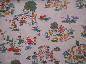 Pretty vintage 50's/60's French children's/nursery fabric - children & animals