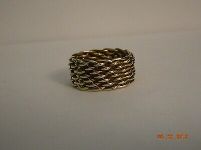 Yellow Gold Color Sterling Silver Wide Mesh Band Ring-size 8 3/4 - Mesh Yellow Ring