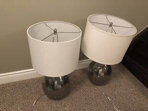 2 Glass Lamps with White/Cream Shades!