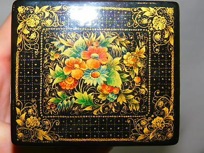 Vintage Russian Tall Black Lacquer Trinket Box Floral Design